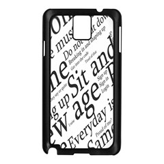 Abstract Minimalistic Text Typography Grayscale Focused Into Newspaper Samsung Galaxy Note 3 N9005 Case (black) by Sudhe