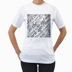 Abstract Minimalistic Text Typography Grayscale Focused Into Newspaper Women s T-shirt (white)  by Sudhe