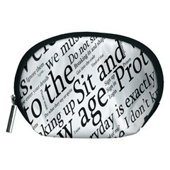 Abstract Minimalistic Text Typography Grayscale Focused Into Newspaper Accessory Pouch (medium) by Sudhe