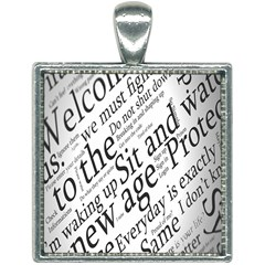 Abstract Minimalistic Text Typography Grayscale Focused Into Newspaper Square Necklace by Sudhe