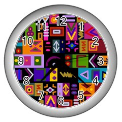 Abstract A Colorful Modern Illustration Wall Clock (silver)