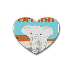 Africa Elephant Animals Animal Rubber Coaster (heart)  by Sudhe