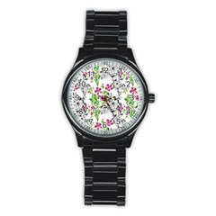 Drawing Flowers Stainless Steel Round Watch