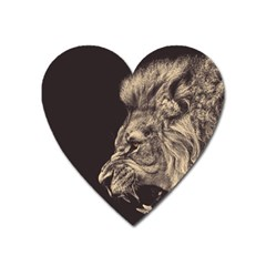 Angry Male Lion Heart Magnet by Sudhe
