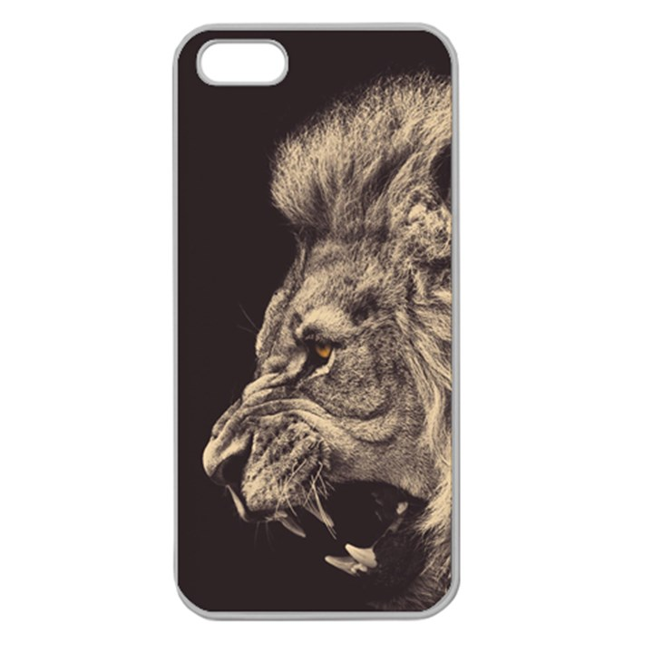 Angry Male Lion Apple Seamless iPhone 5 Case (Clear)