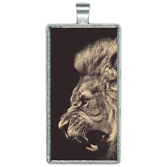 Angry Male Lion Rectangle Necklace