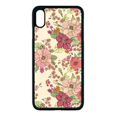 Vintage Flowers Pattern Iphone Xs Max Seamless Case (black) by goljakoff
