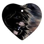 Angry Lion Digital Art Hd Ornament (Heart) Front