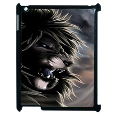 Angry Lion Digital Art Hd Apple Ipad 2 Case (black) by Sudhe