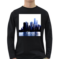Abstract Of Downtown Chicago Effects Long Sleeve Dark T Shirt