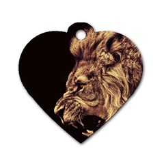 Angry Male Lion Gold Dog Tag Heart (two Sides)