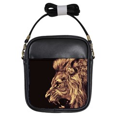 Angry Male Lion Gold Girls Sling Bag
