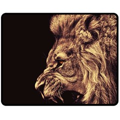 Angry Male Lion Gold Fleece Blanket (medium)