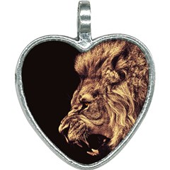 Angry Male Lion Gold Heart Necklace