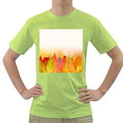 Autumn Leaves Colorful Fall Foliage Green T-shirt by Sudhe