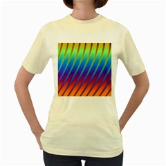 Abstract Fractal Multicolored Background Women s Yellow T Shirt