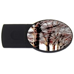 Autumn Fractal Forest Background Usb Flash Drive Oval (2 Gb)