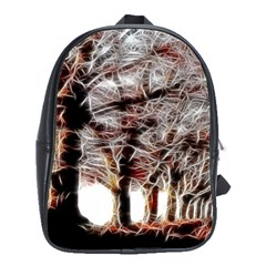 Autumn Fractal Forest Background School Bag (large) by Sudhe