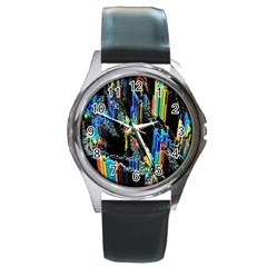 Abstract 3d Blender Colorful Round Metal Watch