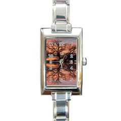 Aurora Sunset Sun Landscape Rectangle Italian Charm Watch by Sudhe