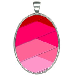 Geometric Shapes Magenta Pink Rose Oval Necklace