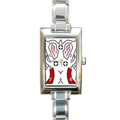 Traditional Art Torajan Pattern Rectangle Italian Charm Watch