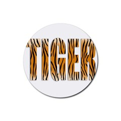 Tiger Bstract Animal Art Pattern Skin Rubber Round Coaster (4 Pack)