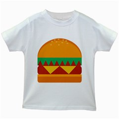 Burger Bread Food Cheese Vegetable Kids White T Shirts