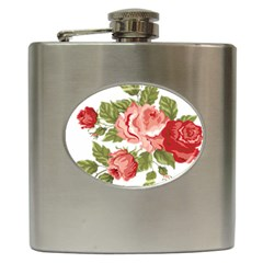 Flower Rose Pink Red Romantic Hip Flask (6 Oz)