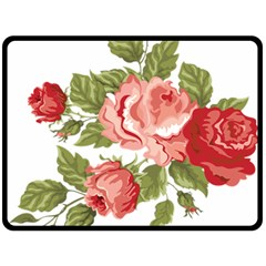 Flower Rose Pink Red Romantic Fleece Blanket (large)