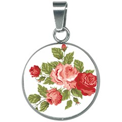Flower Rose Pink Red Romantic 20mm Round Necklace