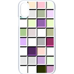 Color Tiles Abstract Mosaic Background Iphone Xs Seamless Case (white)