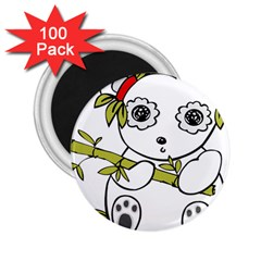 Panda China Chinese Furry 2 25  Magnets (100 Pack)  by Sudhe