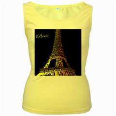 The Eiffel Tower Paris Women s Yellow Tank Top by Sudhe
