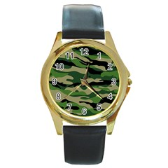 Green Military Vector Pattern Texture Round Gold Metal Watch by Sudhe