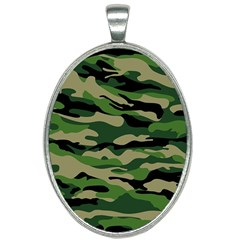 Green Military Vector Pattern Texture Oval Necklace