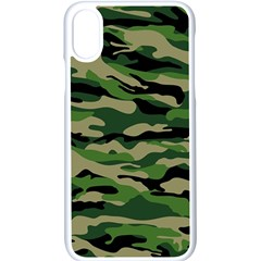 Green Military Vector Pattern Texture Iphone Xs Seamless Case (white)