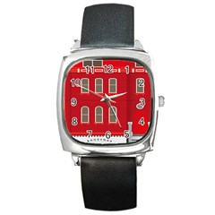 Red House Square Metal Watch