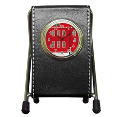 Red House Pen Holder Desk Clock