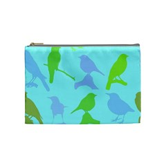 Bird Watching   Light Blue Green  Cosmetic Bag (medium)