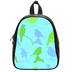 Bird Watching   Light Blue Green  School Bag (small) by WensdaiAddamns