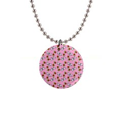 Lamb Pattern Pink 1  Button Necklace