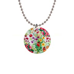 Painting Flowers 1  Button Necklace