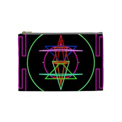 Drawing Of A Color Mandala On Black Cosmetic Bag (medium)