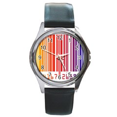 Colorful Gradient Barcode Round Metal Watch