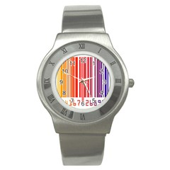 Colorful Gradient Barcode Stainless Steel Watch