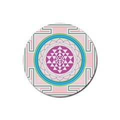 Mandala Design Arts Indian Rubber Coaster (round)  by Sudhe