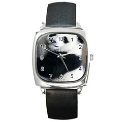 Panda Bear Sleeping Square Metal Watch