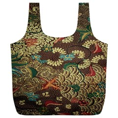 Colorful The Beautiful Of Art Indonesian Batik Pattern Full Print Recycle Bag (xl)