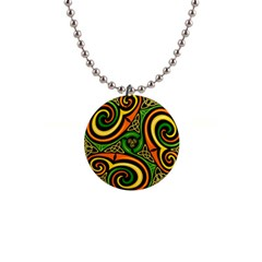 Celtic Celts Circle Color Colors 1  Button Necklace